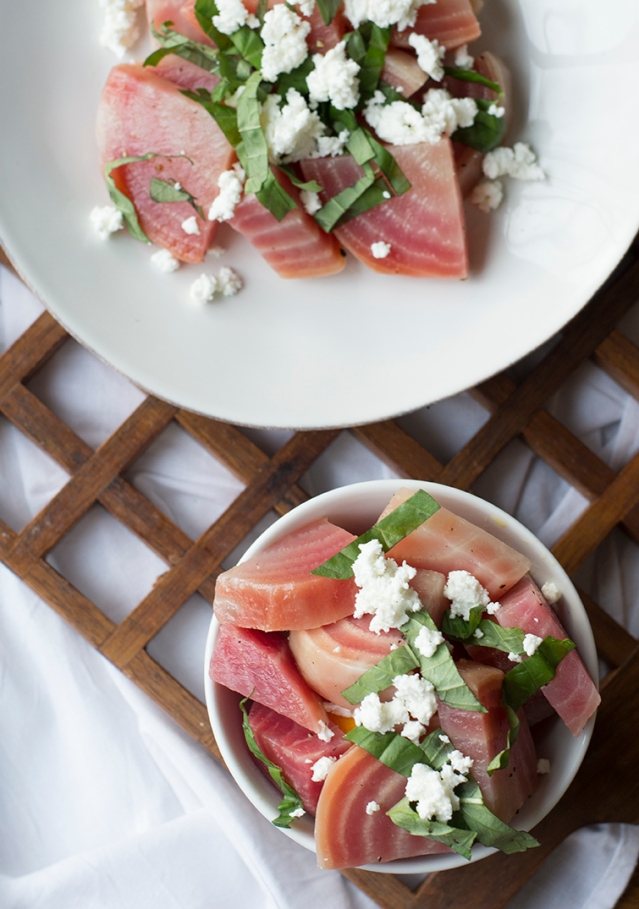 basil, goat cheese and beet salad.